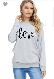 Love Print Round Neck  Long Sleeve Top