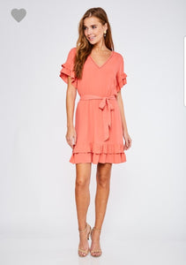 Ruffled V-Neck Dress