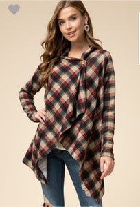Plaid Print Cardigan