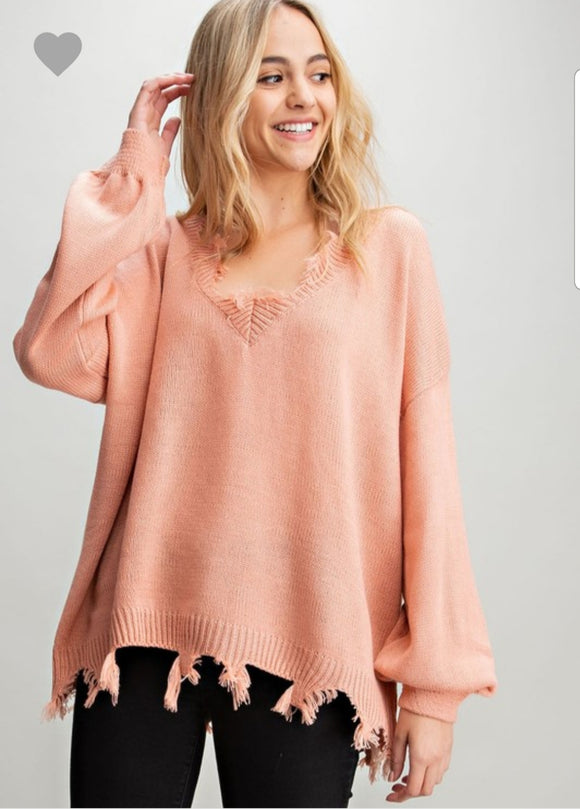 Frayed Knit Pullover Sweater
