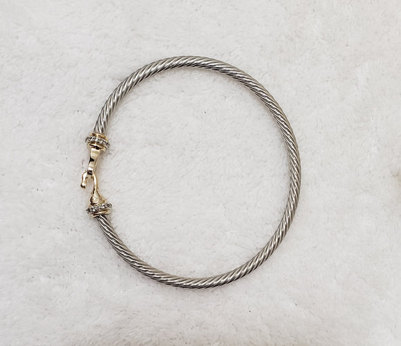 Two Tone Twisted Cable Bracelet