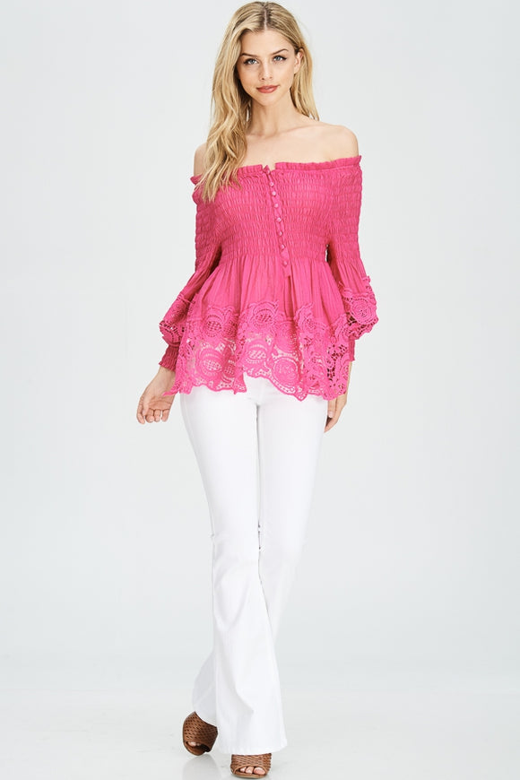 LACE AND SMOCKED OFF SHOULDER TOP