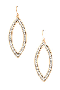 Studded Pointed Oval Drop Earrings