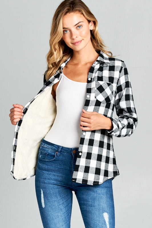 FUR LINING LONG SLEEVE PLAID SHIRTS