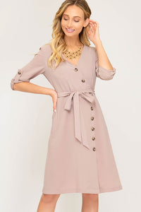 ROLL-UP SLEEVE WOVEN DRESS