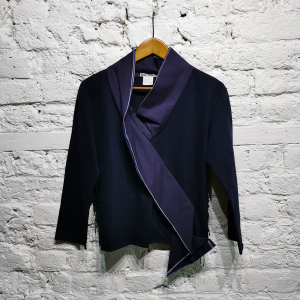 ISSEY MIYAKE CROSSOVER TOP NAVY