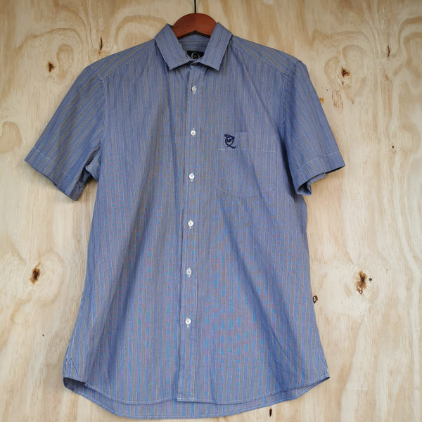 ALEXANDER MCQUEEN BLUE WHITE RED COTTON CHECK SHIRT S/S