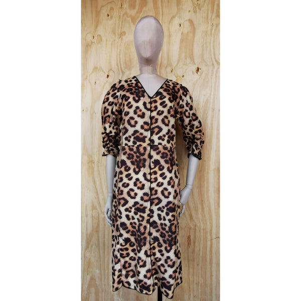MARC JACOBS  main line LEOPARD PRINT / BLACK SILK DRESS