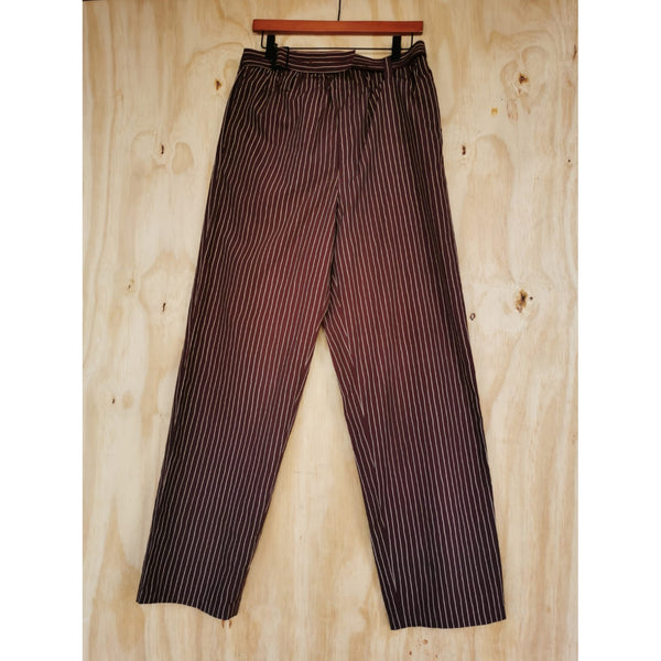 ISSEY MIYAKE MEN DARK RED / GOLD PIN STRIPE LIGHT WEIGHT FABRIC BELTED WAIST DETAILS