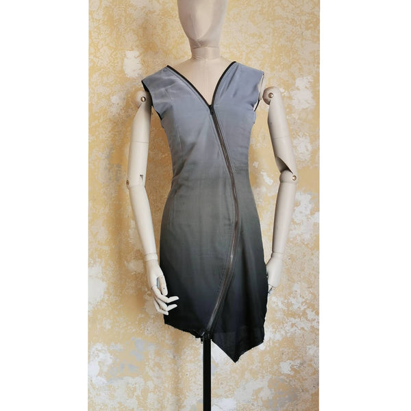HAIDER ACKERMANN ICE BLACK OMBRE ZIP DRESS UK 6