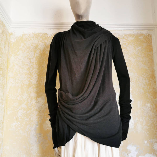 RICK OWENS LILIES FADED BLACK DOUBLE LAYER JACKET