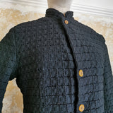COMME DES GARCONS BLACK KNITTED LACE JACKET WITH BROWN BUTTONS
