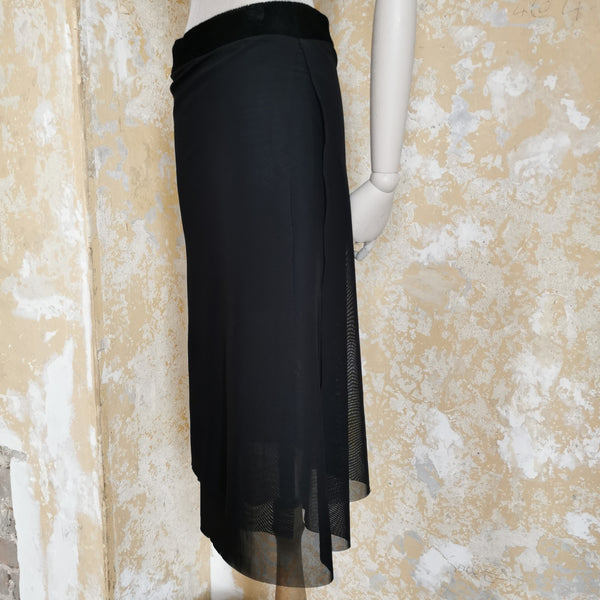 ALEXANDER MCQUEEN MCQ  BLACK LAYERED SHEER SKIRT