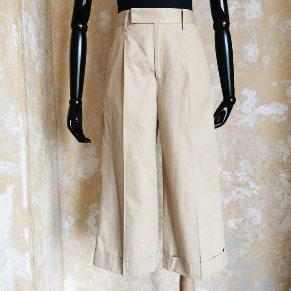 JUNYA WATANABE  CROPPED TAN WIDELEG TROUSERS