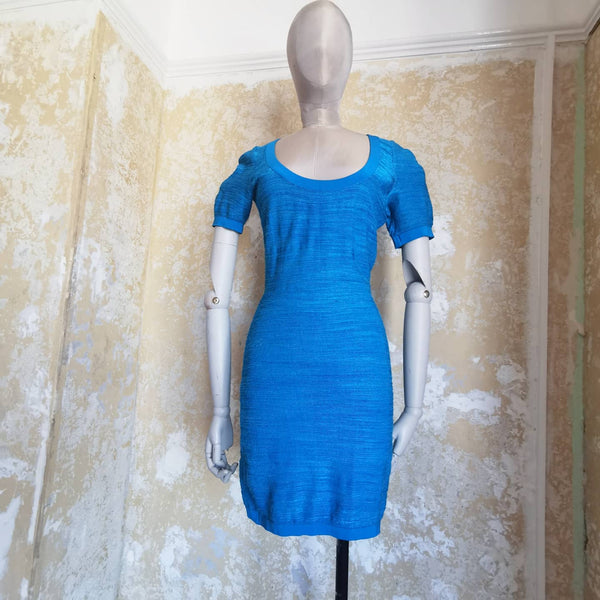 AZZEDINE ALAIA ARCHIVE BLUE bodycon dress
