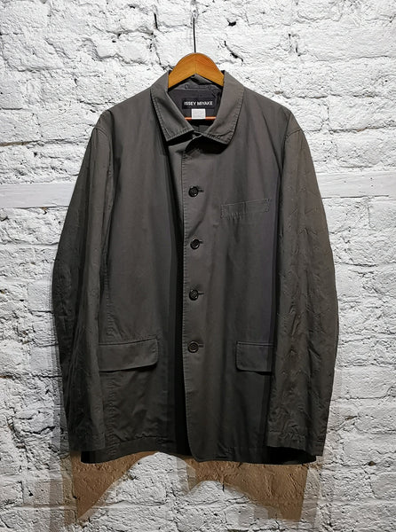 ISSEY MIYAKE GREY COTTON JACKET HONEY COMB STITCH PANEL