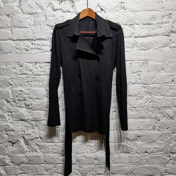 ISSEY MIYAKE PLEATS PLEASE BLACK DOUBLE BREASTED JACKET