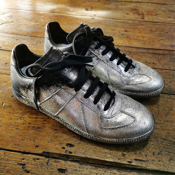 MAISON MARTIN MARGIELA REPLICA WEST GERMAN BLACK LEATHER  SILVER GLITTER SNEAKERS