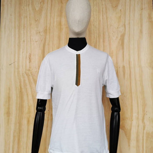 ALEXANDER McQUEEN main line WHITE COTTON T SHIRT GRANDAD COLLAR RIBBON DETAIL