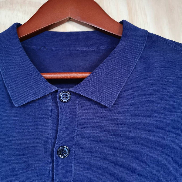 ALEXANDER McQUEEN  BLUE COTTON  KNIT POLO SHIRT