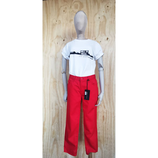 J BRAND SIMONE ROCHA RUCHED BACK RED JEANS