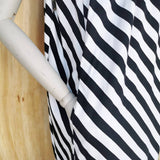 DRIES VAN NOTEN BLACK / WHITE STRIPE PANEL DRESS  DRAW STRING NECK TIE