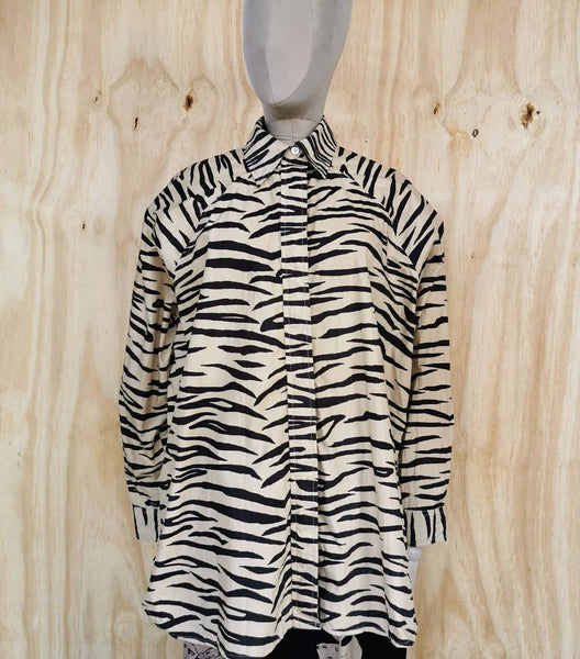 GANNI TIGER PRINT  OVERSIZE SHIRT DRESS