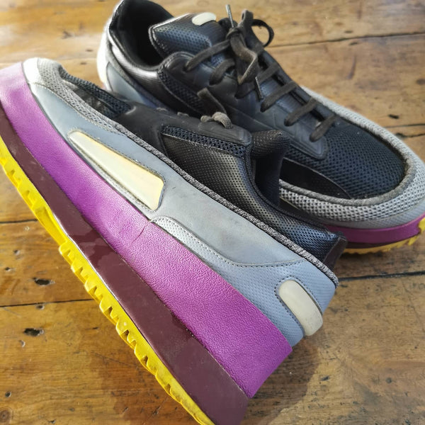 RAF SIMONS / ADIDAS BLACK/ORCHID/SILVER YELLOW SOLE PLATFORM TRAINER