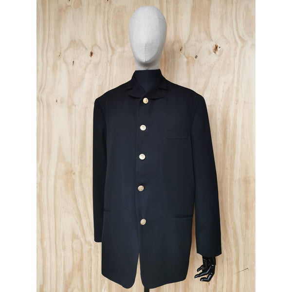 YOHJI YAMAMOTO Pour Homme 90's ARCHIVE BLACK WOOL Military Style Jacket GOLD BUTTON