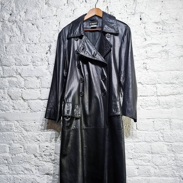 ANN DEMEULEMEESTER ARCHIVE FLOOR LENGTH LEATHER TRENCHCOAT