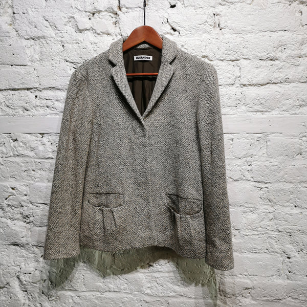 JIL SANDER TWEED JACKET HIDDEN BUTTON