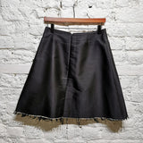 YANG LI BLACK SILK RAW EDGE MINI SKIRT