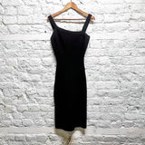 ALAIA Paris BLACK RIBBED HEAVY SILK / VISCOSE BODY CON DRESS