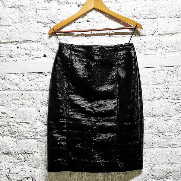 JONATHAN SAUNDERS BLACK PATENT TEXTURED  WET LOOK PENCIL SKIRT
