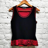 ALEXANDER McQUEEN BLACK & RED  SNAKE PRINT KNIT TOP