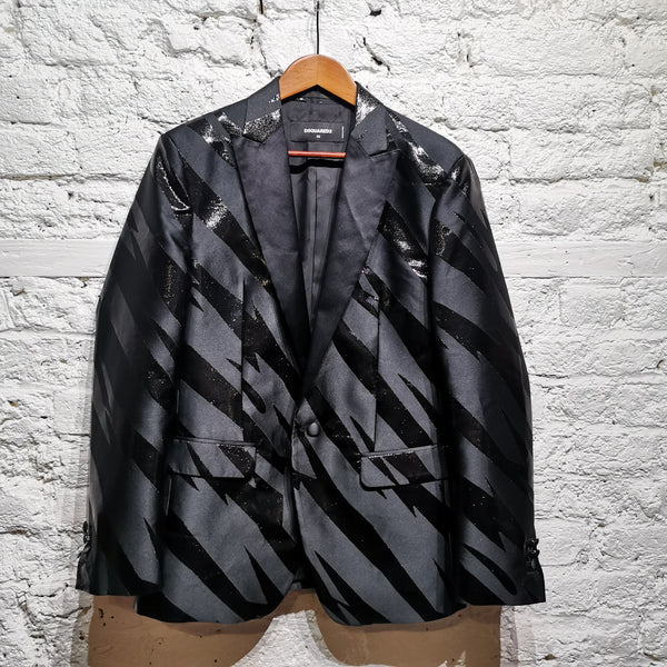 DSQUARED BLACK SATIN LIGHTNING DINNER JACKET SIZE IT 52