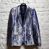 ALEXANDER MCQUEEN BLUE SILVER EMBROIDERED METALLIC JACKET