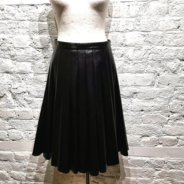 JUNYA WATANABE COMME DES GARÇONS FAUX LEATHER PLEATED SKIRT
