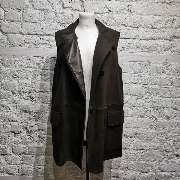 ALEXANDER WANG SLEEVELESS COAT COTTON/ LEATHER SIZE S