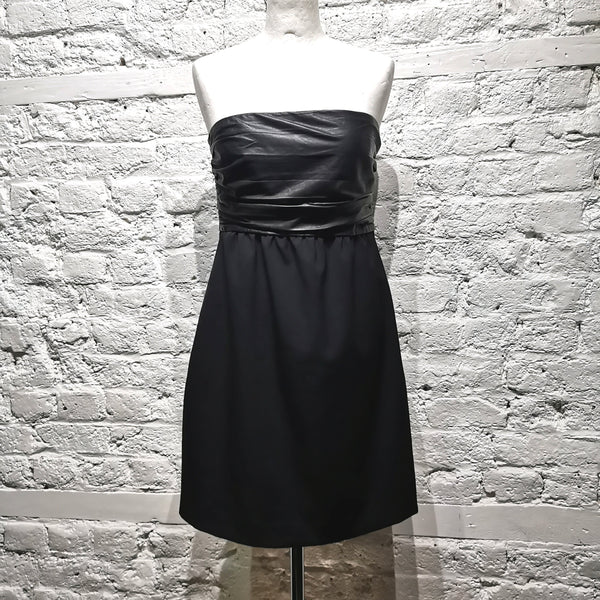 THEORY LEATHER AND WOOL DRESS