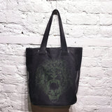 ALEXANDER MCQUEEN CANVAS AND LEATHER SHOPPER BAG