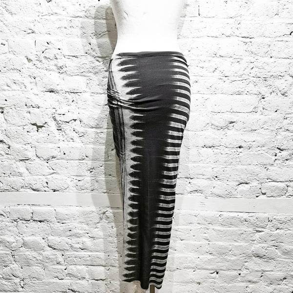 HELMUT LANG BLACK / WHITE COTTON JERSEY PRINT SKIRT