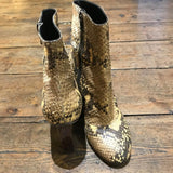 DRIES VAN NOTEN SNAKE SKIN  HEELED ANKLE BOOTS 37.5