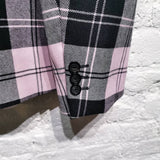 ALEXANDER MCQUEEN BLACK AND PINK CHECK 2 BUTTON JACKET