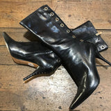 YVES SAINT LAURENT BLACK  POINTED HEELED  EYELET STUD BOOTS 37