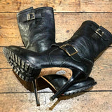 JIMMY CHOO BLACK LEATHER BUCKLED HEELED WINTER BOOTS 37