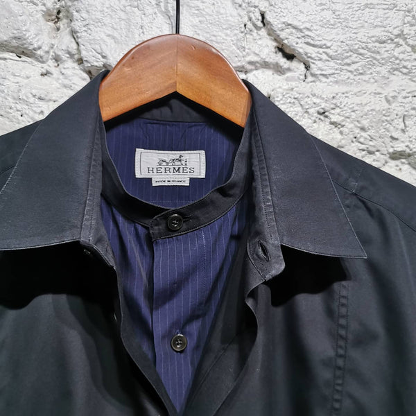 HERMES GRANDAD DOUBLE COLLAR SHIRT