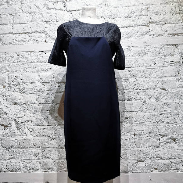 CHALAYAN TEXTURED STEEL BLUE DRESS