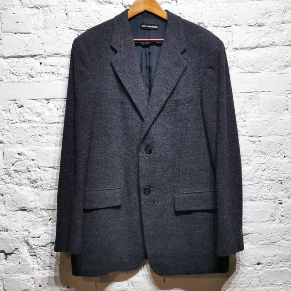 ISSEY MIYAKE MEN GREY TEXTURED WOOL 2 BUTTON JACKET