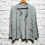 ISSEY MIYAKE ME  (ARCHIVAL LABEL) MINT GREEN  CRUSH CARDIGAN